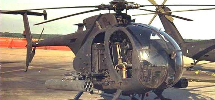 它最初是以OH-6A小马式侦察直升机为基础改良而来,后期的版本则是以民用的MD 500E为发展蓝本,拥有一个5叶片的主旋翼。至于家族中的最新版本MH-6M则是以MD 530F为基础,拥有一个6叶片的主旋翼和4叶片的尾桨。