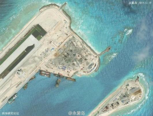 永暑岛最新卫星图:建筑林立
